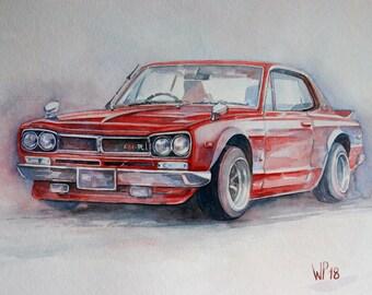 Original painting Nissan Skyline GT-R 2000 (type C10) BJ: 1969, watercolour