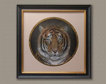 Original pastel painting of Tiger,Free shipping