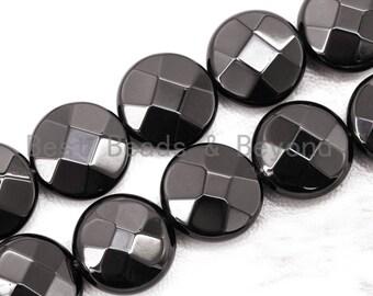 "Top Quality Lentil/Coin Shaped Black Onyx Beads 8mm 10mm 12mm 14mm 16mm 20mm Natural Stones, Gemstones Beads,15.5"" Full Strand, SKU#Q12"