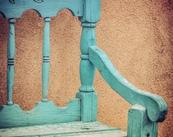 Turquoise Chair Print Southwest Home Decor Chair Photo Print Santa Fe New Mexico Turquoise Home Decor