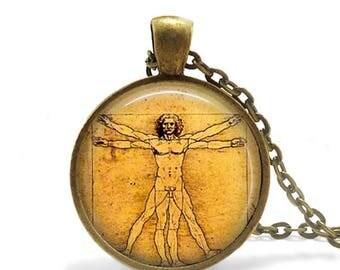 Medical Student Gift Vitruvian Man Pendant Necklace Vitruvian Man Leonardo da Vinci drawing Da Vinci Jewelry Leonardo Da Vinci Medical gift