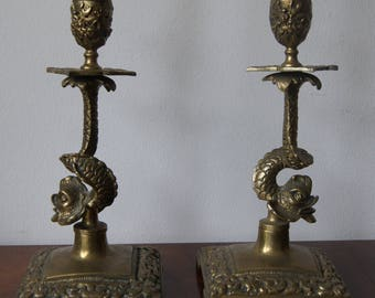 Antique Vintage Pair Solid Brass Fish Candle Holders Very Detailed Antique brass candlesticks
