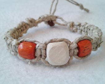 Thick Hemp Bracelet Wood Beads - Surfer Hemp Bracelet - Men's Hemp Bracelet