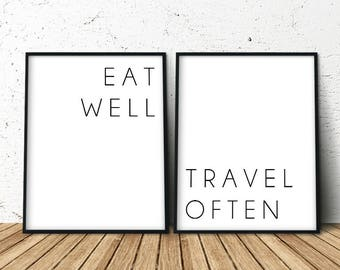 Travel Poster Quote, Dorm Quote, Set of 2 Prints, Gift for Travelers, Travel Quotes, Nature Lover Gift, Dorm Room Decor, Travel Gift For Dad