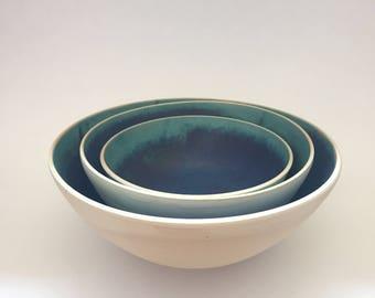 Set of Three Matte Turquoise Nesting Bowls - Serving Bowls - Ceramic Bowl - Handmade Pottery