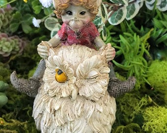 Miniature Pixie Sitting on a White Owl