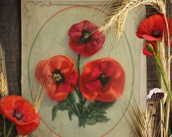 Giftcard Silk Ribbon Embroidery Art Thank You Gift Poppy Bunch Personalized Message Floral
