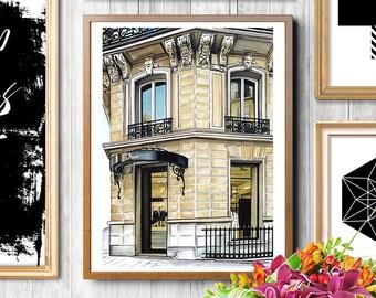 Dior shop, fashion illustration, fashion print, fashion art print, Dior, fashion drawing, Miss Dior, Architecture print, Fashion sketch