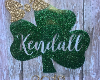 Shamrock with Name Iron on Decal/ DIY St. Patrick's Day Shirt/ Shamrock Monogram Iron on Decal/ DIY St. Patrick's Day Baby or Kids Shirt