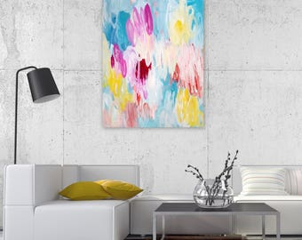 Abstract Painting on  Canvas 24x28 inches - Original, Wall Art, Home Decor, Bright Decor, Colorful Decor, Interiors - Free Shipping