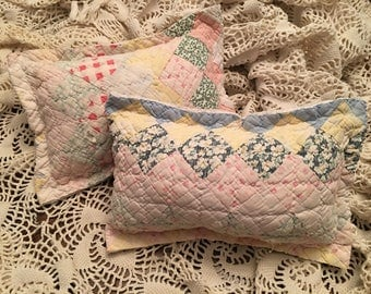Diamond Patchwork Quilted Pillow/Newborn Posing Pillow/ Tattered Quilted Pillow