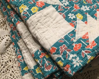 Teal and Floral Quilt Layer/ Teal and Floral Quilt Piece/ Cutter Quilt Piece