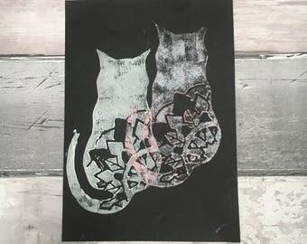 Mandala Cats Lino Print, Cats on Black Card Print, Kitten Print, A5 Print