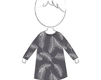 A Line Feather Print Jersey Dress Tunic Organic