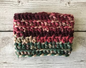 Crochet Coffee Cozy | Burgundy and Green Variegated | Coffee Sleeve | Crochet Gift | Handmade Coffee Sleeve