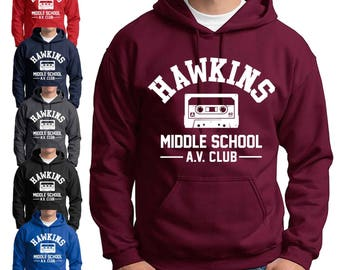 Hawkins School AV Club Hoodie Stranger Things Dustin spiritwear Sweatshirts Mens Kids sizes