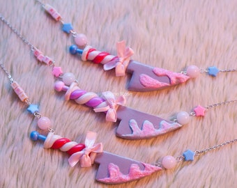 Necklace knife candy cane with melt - mad hatter