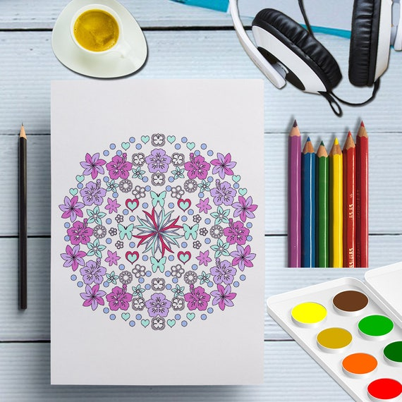 Printable Mandala Coloring Page, Flower Mandala Adult Color Sheet, Mandala Coloring Print For Grown Ups, Instant Mandala Art Print