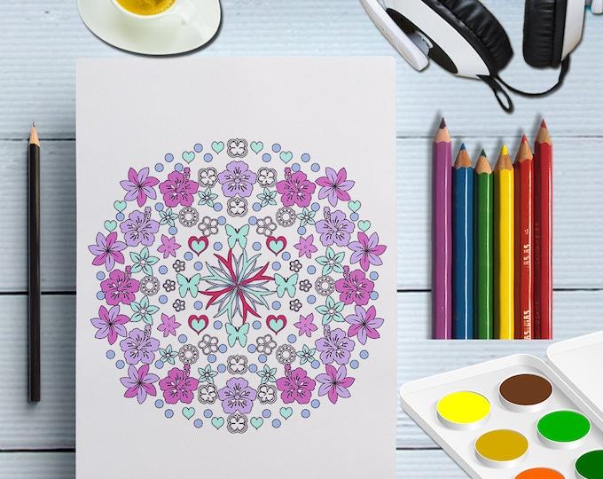 Printable Mandala Coloring Page, Flower Mandala Adult Color Sheet, Mandala Coloring Print For Grown Ups, Instant Mandala Art Print