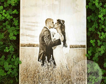 Card Personal Photo, Wood Laser Cut, Unique Wedding Card, Wooden Wedding Card, Wedding photo laser, Laser engraved photo on wood
