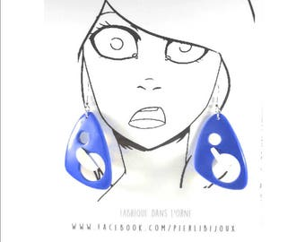Earrings blue and white 3D