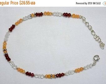ON SALE 50% Gemstone Beaded Bracelet,Garnet Bracelet,Carnelian Bracelet,Crystal Bracelet, Silver Bracelet for Women - SKU 1200