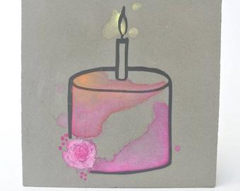 Birthday Birthday Candle Birthday cake Watercolor on concrete
