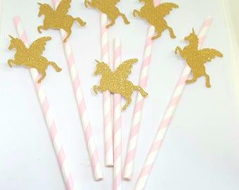 Lot de 6 Pailles licorne- licornes dorees pailletees paille  de couleur rose clair - anniversaire enfant- baptême