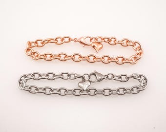 Stainless Steel Link Bracelet - Rose Gold Plated Link Bracelet - Jewelry Supplies - Wholesale Bracelets