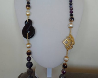 Purple agate and Amethyst gemstone necklace