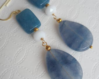Classic pendant earrings with blue jade Stone
