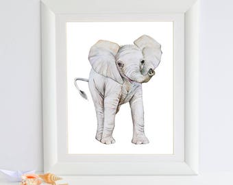 Elephant Art Print, Nursery Decor, Elephant Painting, Watercolor, Baby Animal Print, African Safari, Zoo Animal, Baby Room Wall Art, Picture