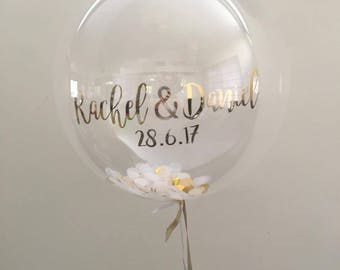 Custom clear confetti Balloon decal 20 inch, custom wedding balloon, Confetti balloon, vinyl decal, gold decal, gold wedding balloon, decal
