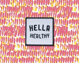 Hella Healthy 2in Iron on Patch | Hella Healthy | Plant Based Apparel | Veggie Centric | Kale | I Stay Woke |