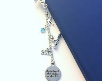 Graduation Gift for Girl, Mermaid Bookmark, Metal Book Mark, She believed she could so she did Charm Scroll High School Junior personalized