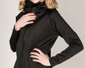 Womens black jacket - Womens wind shell jacket - Womens black hoodie - Wind shell hoodie - Seaside wear - Womens long hoodie