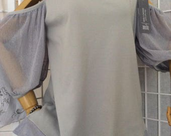 Cold shoulder tunic, dove grey knit top, artisan made, Australian Fashion