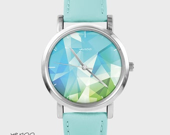 Bracelet Watch - Geometric - turquoise, leather