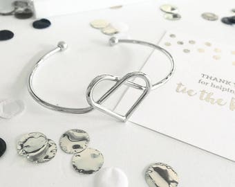 "Heart ""Tie the Knot"" Bracelet - Silver Plated- Bridesmaids Gifts - Bridal Party Gifts - Maid of Honor - Wedding Favors"