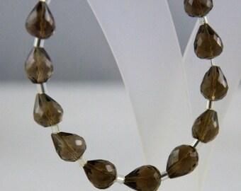 "Natural Smoky Quartz Beads Faceted Briolette Teardrop, 9x7 to 10x7 mm, 7""Long Strands Briolettes Gemstone Beads, Smoky Gemstone, Smoky Beads"