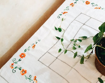 Embroidered Tablecloth, Floral tablecloth, Orange flowers, Cottage Chic, Farmhouse, White tablecloth with cut out detail, Boho Decor, Square
