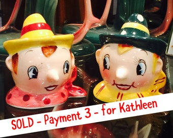 SOLD - Pmt 3 - for Kathleen- PY Anthropomorphic Wooden Puppet Boys in Scarves and Hats Salt and Pepper Shakers made in Japan circa 1950s