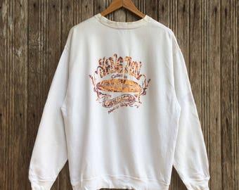 Rare!! Vintage Hang Ten Long Boards Sweatshirt Jumper Pullover Nice Design Large size