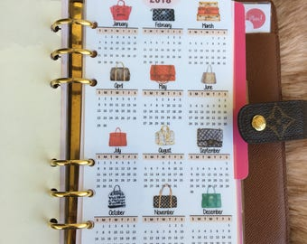 Designer Handbags, 2018 Year Planner Calendar, Laminated and Punched Pocket, Personal and A5 sizes Dashboard, Planner Calendar, LV Insert