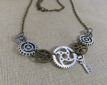 Steampunk necklace, steampunk jewelry, COGS and gears, key chain metal color bronze, necklace Jewelry Gifts for her