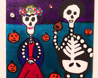50% off Frida Kahlo Painting / Mexican Folk Art