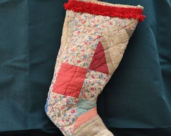 Vintage Shabby Chic Christmas Stocking