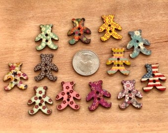 Wooden Cute Teddy Bear Buttons, 25x22 mm, Mixed Pattern, 2-hole, Novelty buttons, crafts, sewing, scrapbooks, 10 buttons per pack