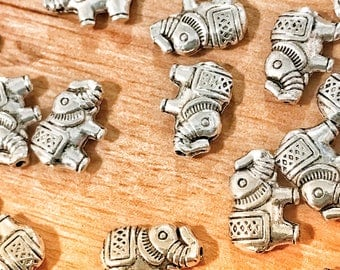 Tibetan style beads with elephant shape, jewelry beads, silver beads, 9mm size beads, 10 beads per pack