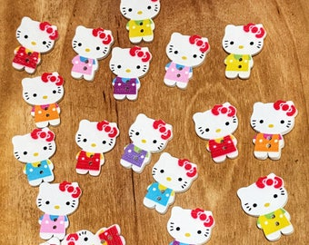 2 hole Cute wood buttons, Hello Kitty wooden buttons, cute mixed 1 inch buttons, sewing, crafts, scrapbooks, 10 buttons per pack
